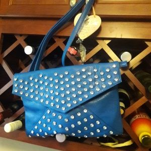 Pretty blue enevelope bag with stones